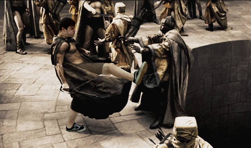 Mosh pit proposal photoshopped into a funny picture of the kicker doing his thing like he is in the movie 300.