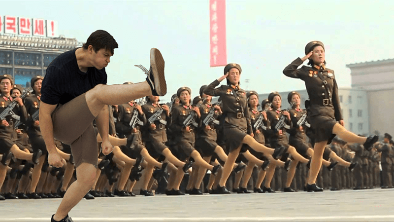 North Korean photoshop of engagement in mosh pit