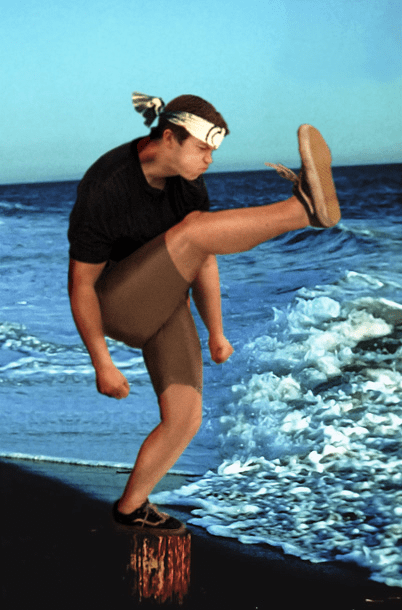 Karate Kid and mosh pit engagement kicker made into funny picture using photoshop.