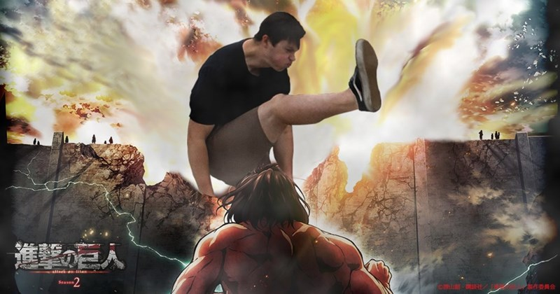 Anime style photoshop of kicker from mosh pit engagement photo.