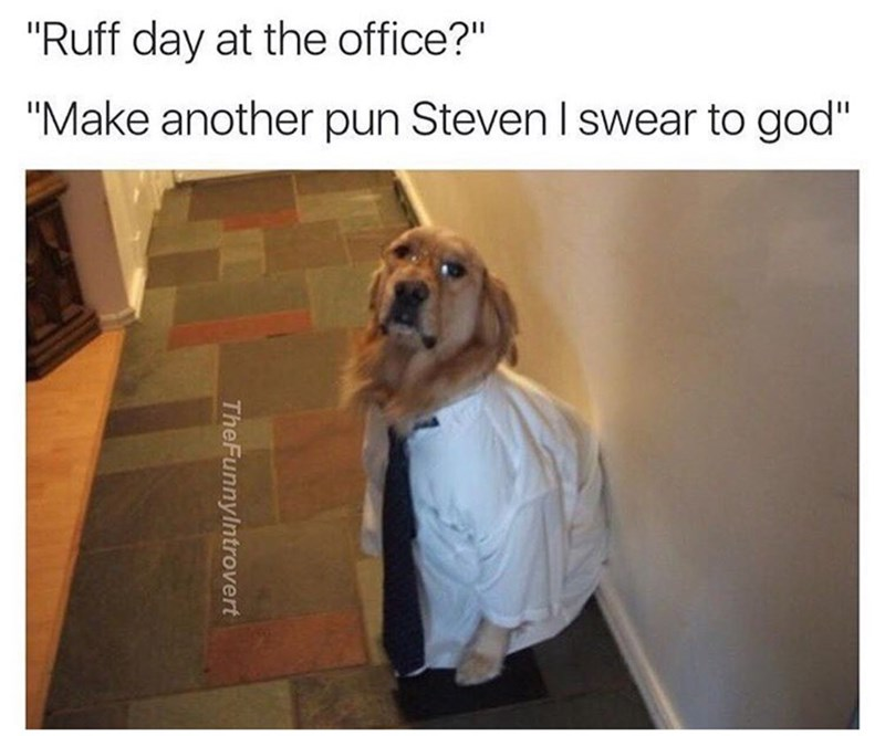 "Dog - ""Ruff day at the office?"" ""Make another pun Steven I swear to god"" TheFunnylntrovert"