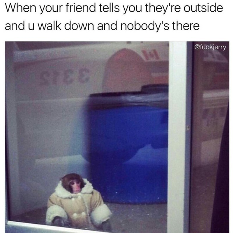 Text - When your friend tells you they're outside and u walk down and nobody's there @fuckjerry 3 3J5