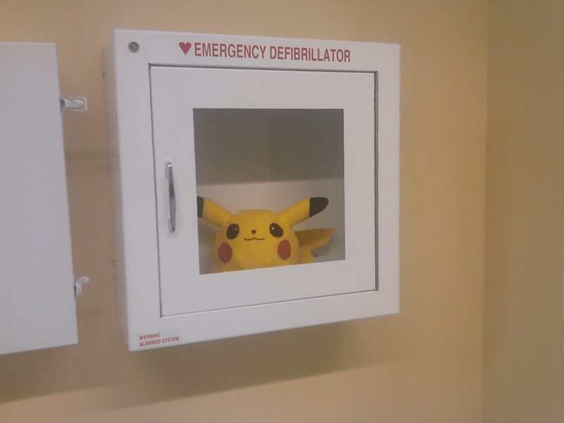 pikachu in emergency defibrillator box