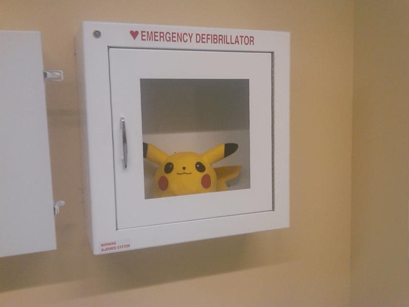 pikachu in emergency defibrillator box