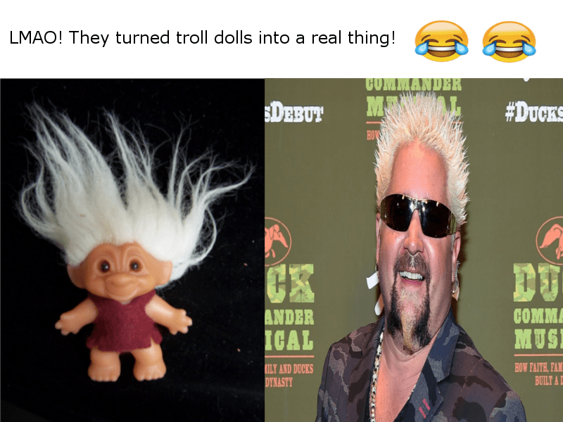 guy fieri as troll doll meme