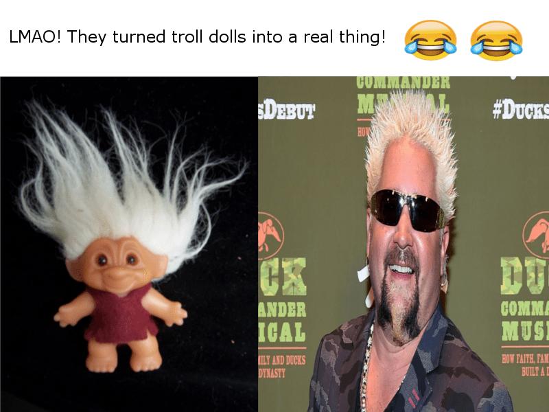 guy fieri as troll doll meme