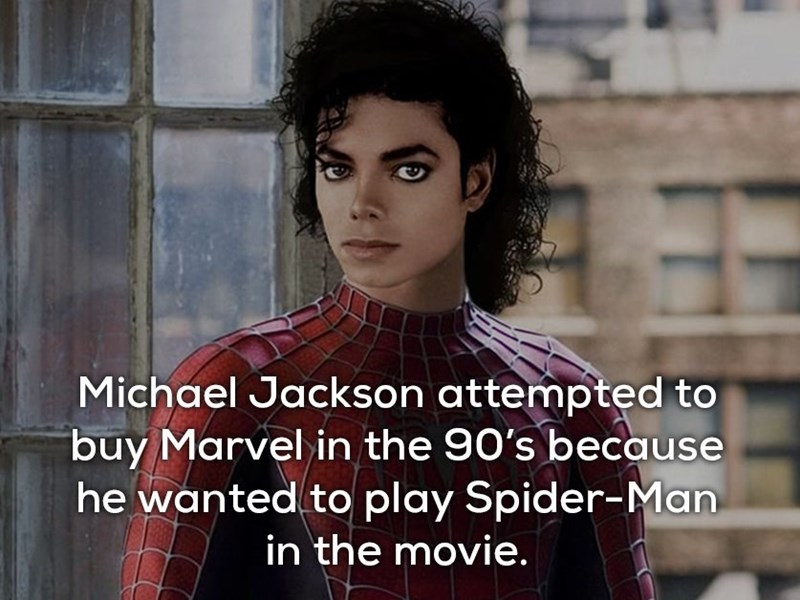 Black hair - Michael Jackson attempted to buy Marvel in the 90's because he wanted to play Spider-Man in the movie.