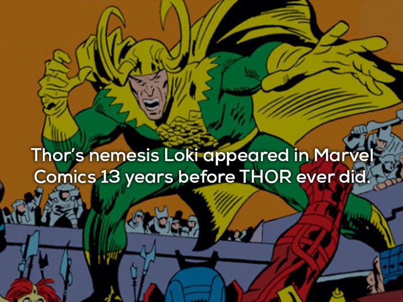Cartoon - Thor's nemesis Loki appeared in Marvel Comics 13 years before THOR ever did.