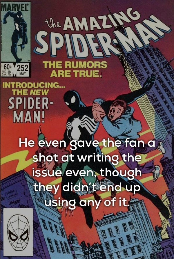 Comic book - MARVEL the AMAZING SPIDER MA THE RUMORS ARE TRUE. 60c 252 UK 25p CAN. 75 MAY INTRODUCING... THE NEW SPIDER MAN! He even gavethe fan a shot at writing the issue even though they didn't end up using any of it RENZ .thive