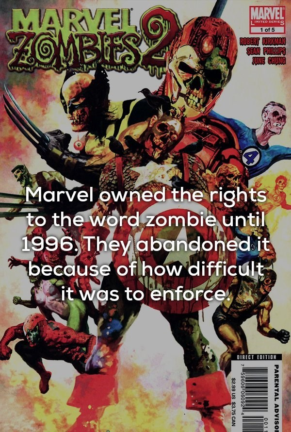 Fictional character - MARVEL MARYEL ZOMBIES I IMITED SERIES 1 of 5 ROBERT KIRKMAN SEAR PHILLIPS JUNE CHUNG Marvel owned the rights to the word zombie until 1996 They abandoned.it because of how difficult it was to enforce DIRECT EDITION PARENTAL ADVISOE 0011 759606 06092 4 $2.99 US $3.75 CAN
