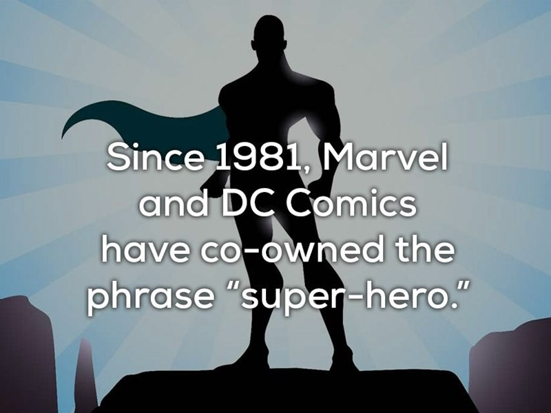 """Fictional character - Since 1981, Marvel and DC Comics have co-owned the phrase """"super-hero."""""""