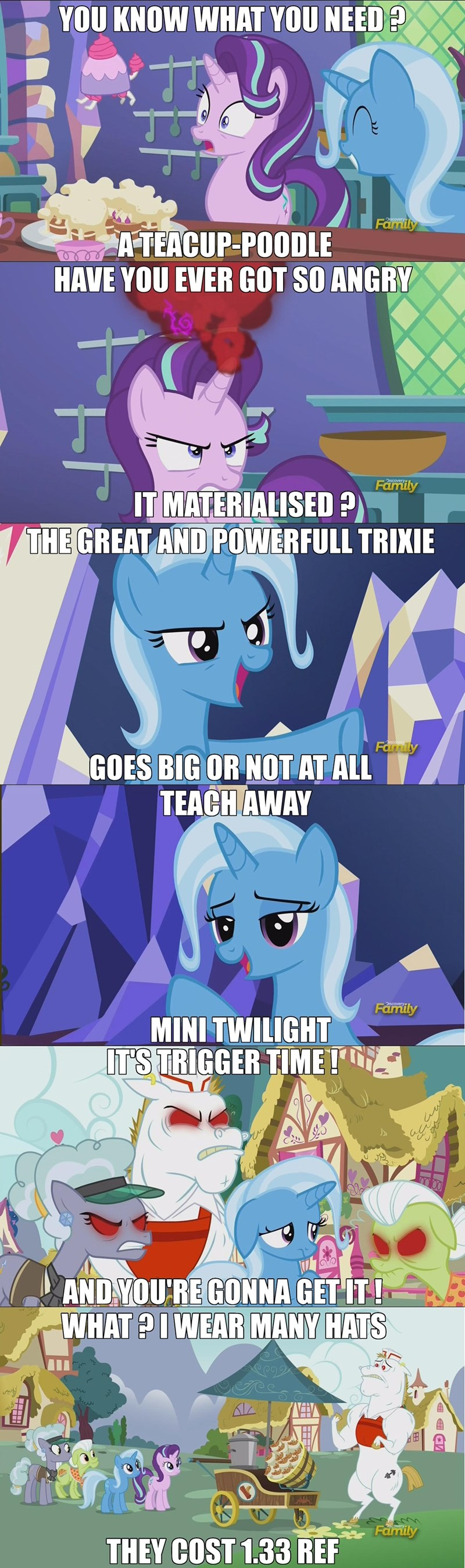 the great and powerful trixie,bulk biceps,starlight glimmer,all bottled up,Memes,granny smith