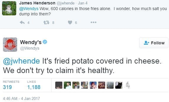 Text - James Henderson @jwhende Jan 4 @Wendys Wow, 600 calories in those fries alone. I wonder, how much salt you dump into them? Wendy's Follow @Wendys @jwhende It's fried potato covered in cheese. We don't try to claim it's healthy. RETWEETS LIKES 319 1,188 4:46 AM -4 Jan 2017