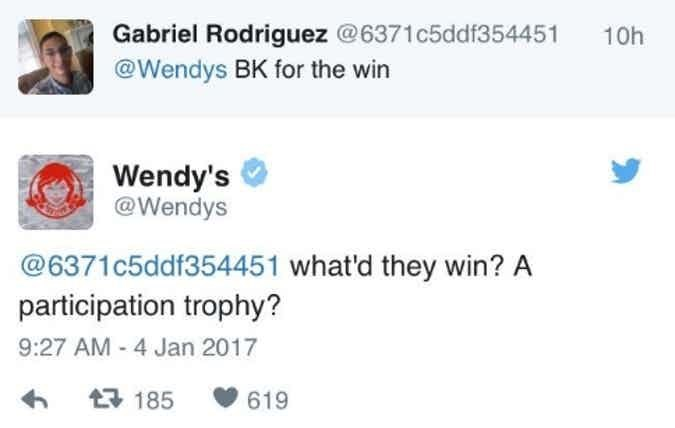 Text - Gabriel Rodriguez @6371c5ddf354451 @Wendys BK for the win 10h Wendy's @Wendys @6371c5ddf354451 what'd they win? A participation trophy? 9:27 AM 4 Jan 2017 2185 619