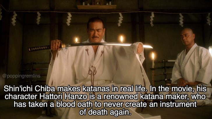 Priesthood - @poppingremlins Shin'ichi Chiba makes katanas in real life, In the movie, his character Hattori Hanzo is a renowned katana maker, who has taken a blood oath to never create an instrument of death again.