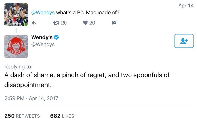 Text - Apr 14 @Wendys what's a Big Mac made of? 20 20 Wendy's @Wendys Replying to A dash of shame, a pinch of regret, and two spoonfuls of disappointment. 2:59 PM Apr 14, 2017 250 RETWEETS 682 LIKES