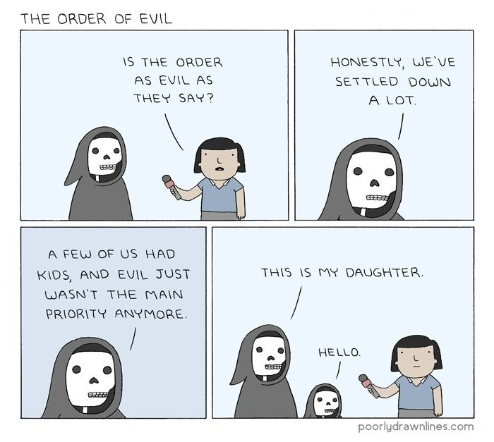 death says evil has settled down and he has had a daughter