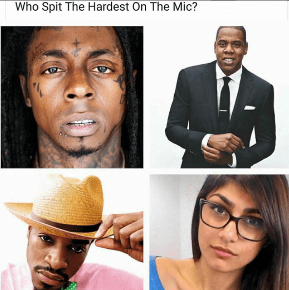 dank meme asking who spit the hardest on the mic, T-pain, Jay-Z, Andre-3000 from outkast of pornstar Mia Khalifa