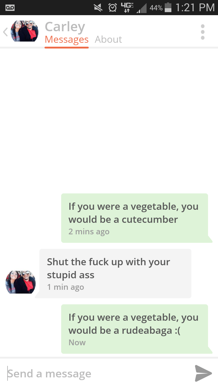tinder messages If you were a vegetable, you would be a cutecumber 2 mins ago Shut the fuck up with your stupid ass 1 min ago If you were a vegetable, you would be a rudeabaga :( Now Send a message