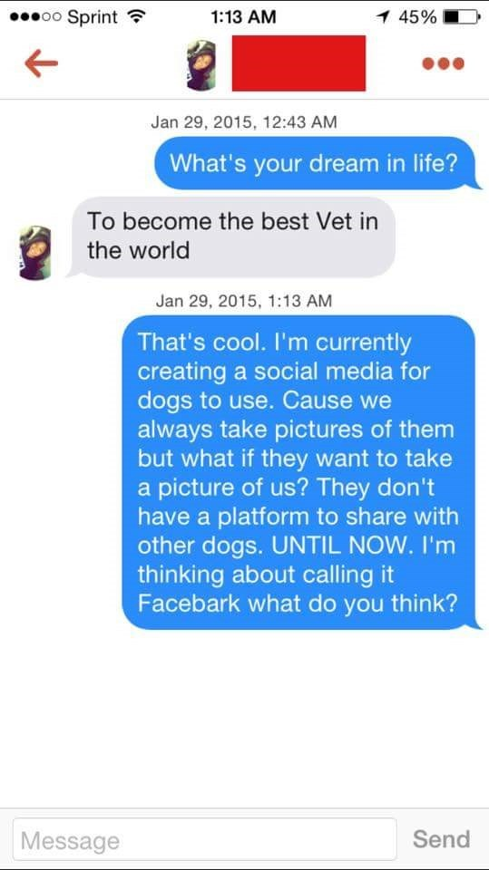 tinder messages What's your dream in life? To become the best Vet in the world Jan 29, 2015, 1:13 AM That's cool. I'm currently creating a social media for dogs to use. Cause we always take pictures of them but what if they want to take a picture of us? They don't have a platform to share with other dogs. UNTIL NOW. I'm thinking about calling it Facebark what do you think? Send Message