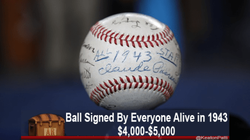 Ball - STAR 1943 Ceande Ball Signed By Everyone Alive in 1943 $4,000-$5,000 KeatonPatti AR