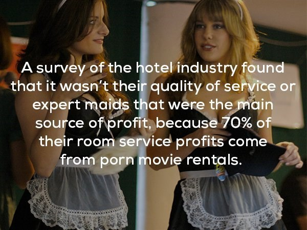 Clothing - A survey of the hotel industry found that it wasn't their quality of service or expert maids that were the main source of profit, because 70% of their room service profits come from porn movie rentals.