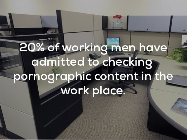Furniture - 20% of working men have admitted to checking pornographic content in the work place.