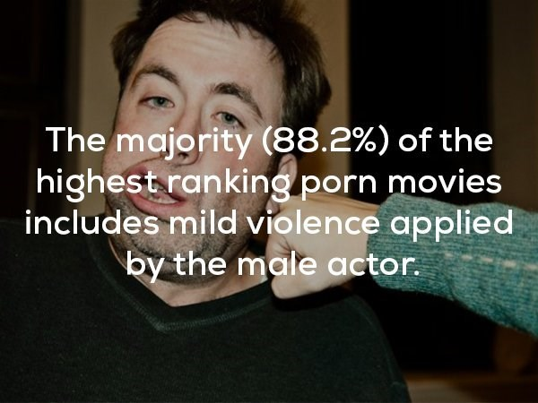 Face - The majority (88.2%) of the highest ranking porn movies includes mild violence applied by the male actor.