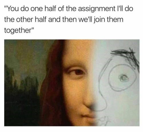 You do one half of the assignment, I'll do the other half and we will join them together. Image is half of the Mona Lisa and half a child's drawing.
