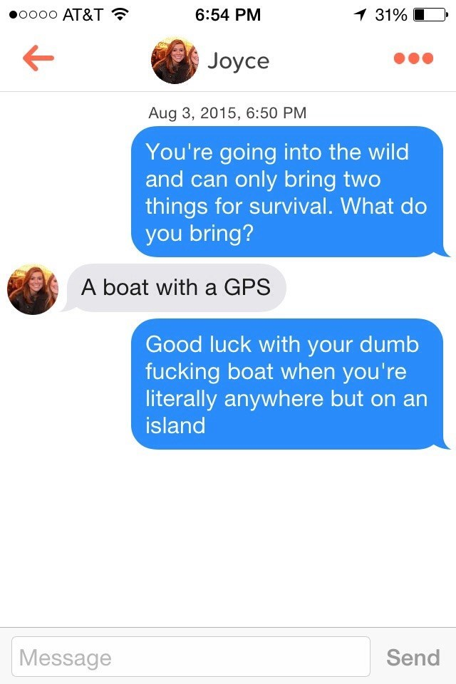 Text - oo0o AT&T 6:54 PM 1 31% Joyce Aug 3, 2015, 6:50 PM You're going into the wild and can only bring two things for survival. What do you bring? A boat with a GPS Good luck with your dumb fucking boat when you're literally anywhere but on an island Message Send