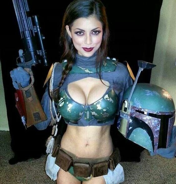 Star Wars Boba Fett cosplay by beautiful woman
