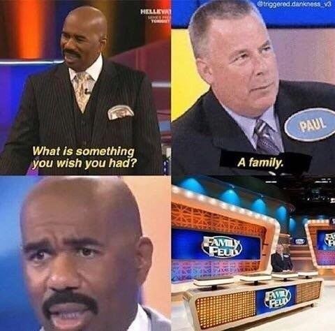 "A man sits alone on the set of a game show hosted by Steve Harvey. The host asks the loner a question. ""What is one thing you wish you had?"" His response: a family."