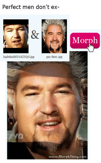 The perfect man doesn't exist? Image morph of Guy Fieri and Steve from Smashmouth.