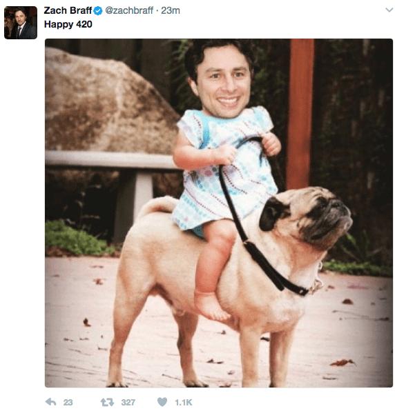 Dog - Zach Braff Наpрy 420 @zachbraff 23m 23 t327 1.1K