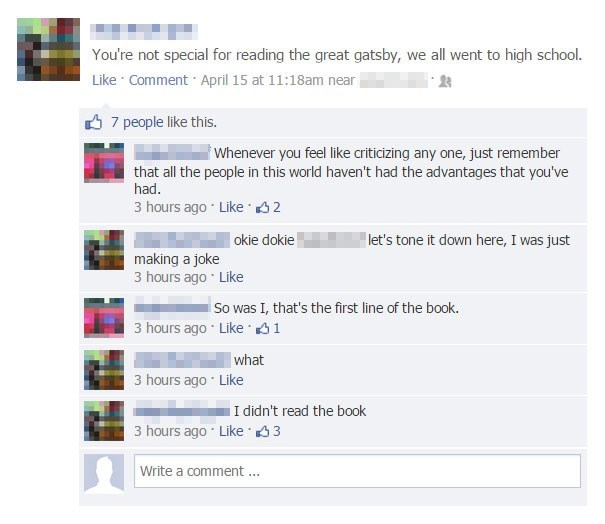 Facebook FAIL about reading The Great Gatsby