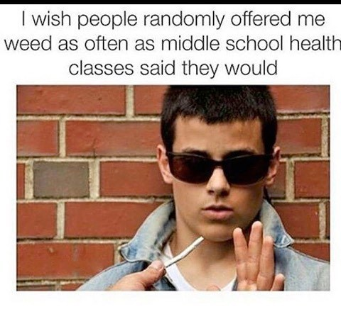 dank meme about being offered weed in middle school