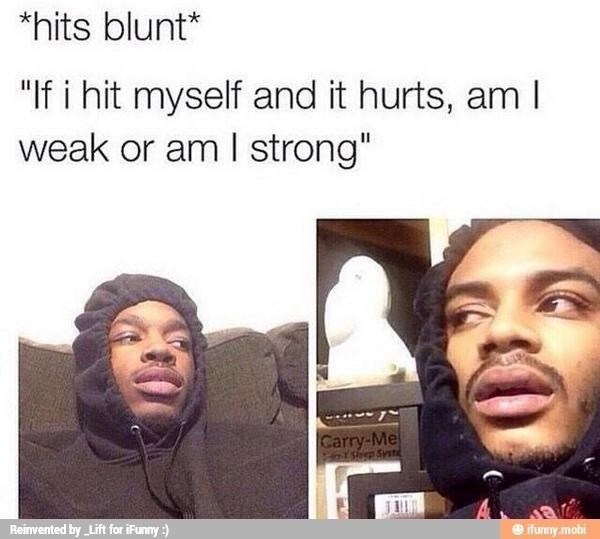 hits blunt meme wondering if you are strong or weak if you hit yourself and it hurts