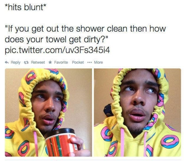 Hits Blunt meme wondering why the towel get dirty if you are clean after a shower, with man wearing very colorful hoodie with a confused expression