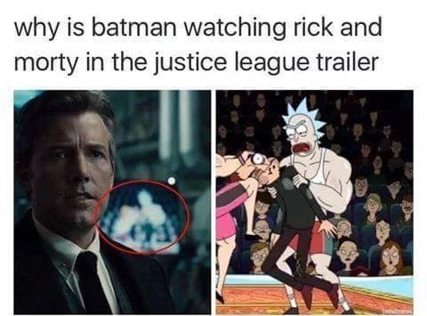 Why is Ben Affleck as Batman watching Rick and Morty?