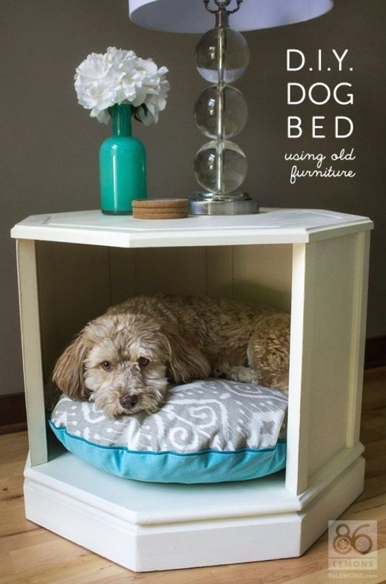 Night stand with cool dog bed underneath.