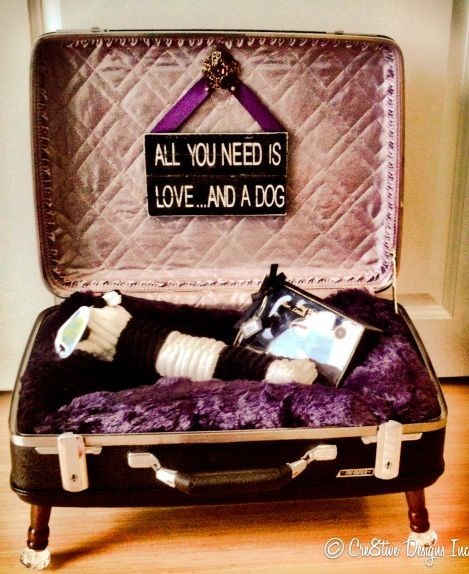Cute DIY dog bed made from an old Samsonite suitcase.