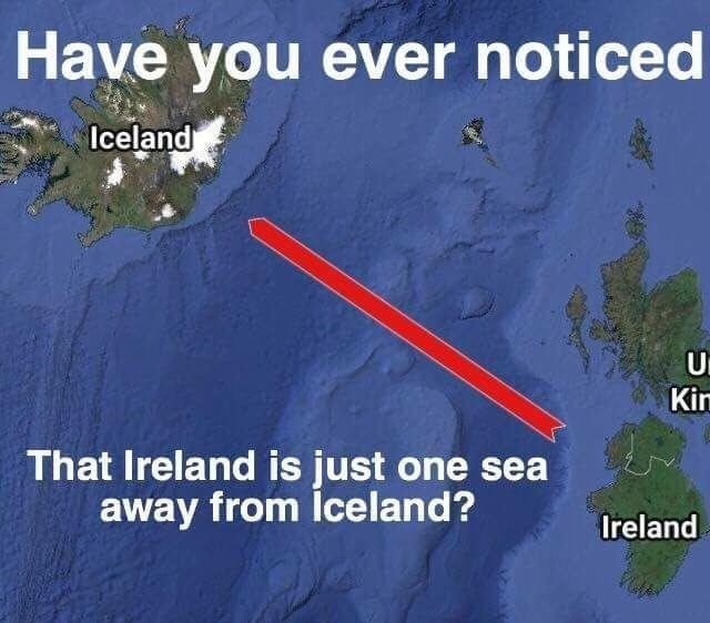 An image showing a pun - map of the area between Iceland and Ireland claiming the difference is one sea - but it's really one C!