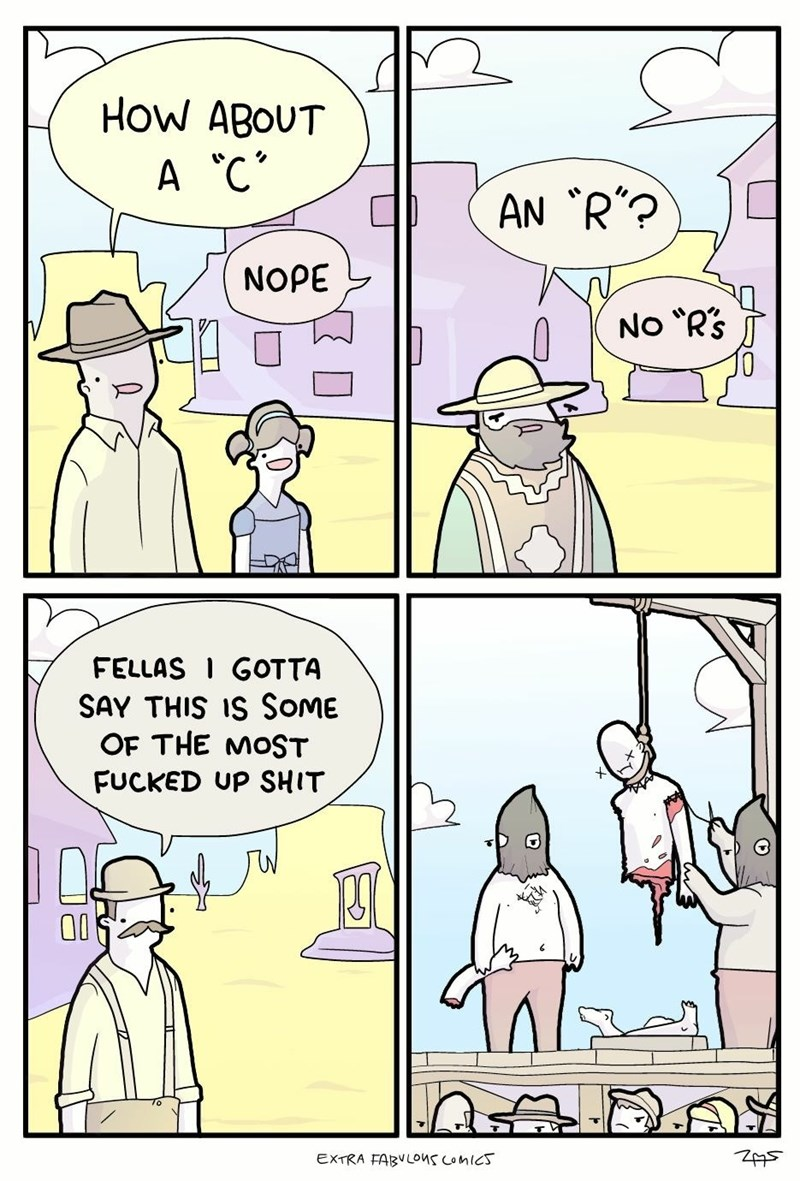 Webcomic that depicts how gory and terrible playing hangman would be in real life.