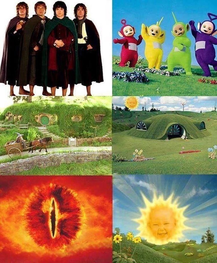 Image comparing Lord of the Rings to Teletubbies, eye of Sauron equals baby face inside sun.