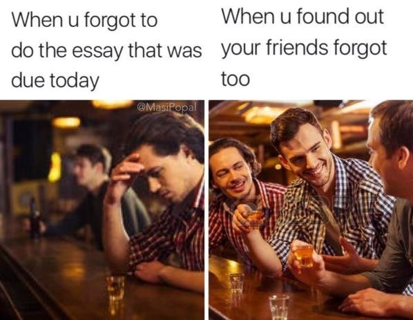 Friends at bar, find out that forgot to do the essay that was due, but happy once it becomes clear that all the friends forgot to write it.