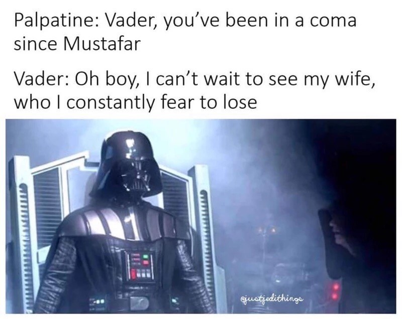 Darth Vader has been in a coma, can't wait to see his wife who he constantly fears to lose.