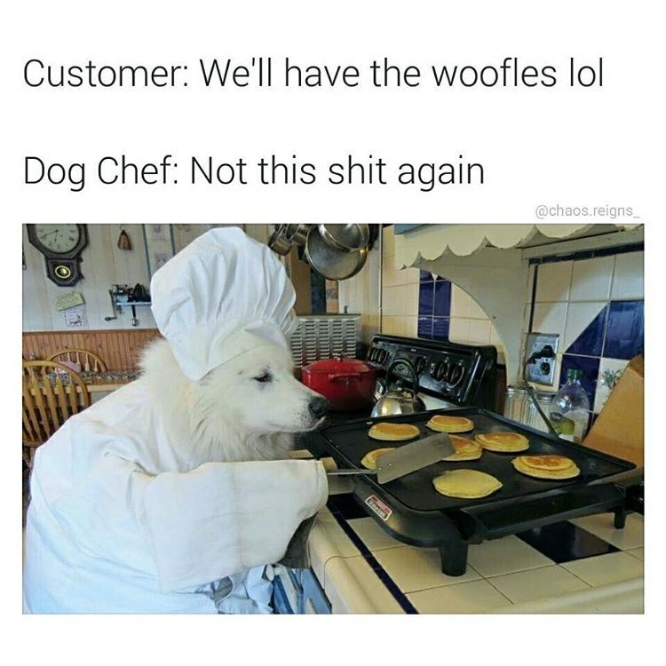 "Dog cooking waffles wearing chef hat, people ask for ""woofles"" instead of waffles."