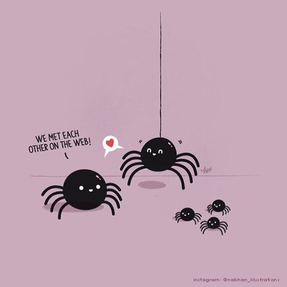 Spider pun cartoon about how they met each other 'on the web'.
