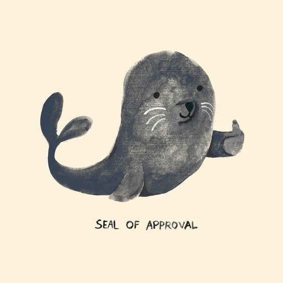 Animal pun 'Seal of approval' cartoon drawing.