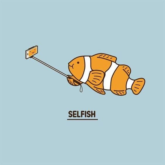 Horrible pun cartoon of a fish taking a picture of himself in a very 'selfish' way.